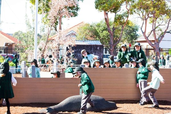 St Francis Xavier Catholic Primary School Ashbury - students playing at school grounds