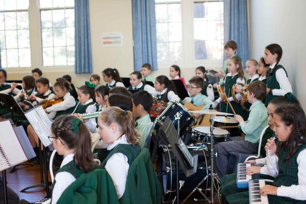 St Francis Xavier Catholic Primary School Ashbury - students playing instruments in music class